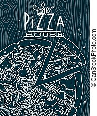 Poster pizza wood blue
