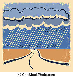 poster., pluie, vendange
