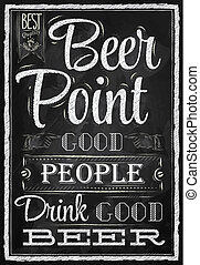 Poster Point Beer chalk - Poster with the words in chalk ...