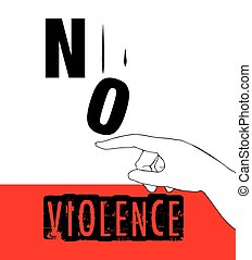 poster, protest, violence, ontwerp, nee