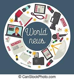poster, reclame, uitrusting, fabriekshal, wereld, nieuws, cirkel