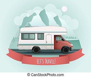 poster, recreatief voertuig
