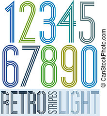 Poster retro light colorful numbers with stripes on white...