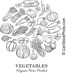 Poster round composition with hand drawn vegetable