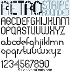 Poster rounded black font and numbers on white background, retro striped letters.