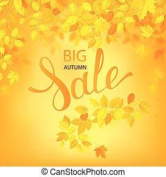 poster., saison, feuilles, vente, illustration, automne, vecteur