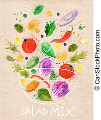 Poster salad mix pour into a bowl drawn in an abstract watercolor for kraft