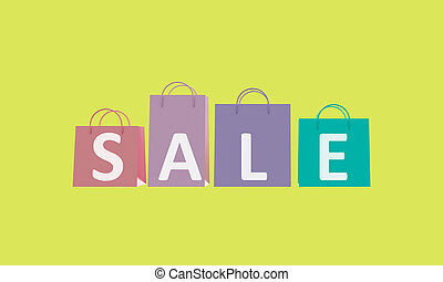 Poster Sale. Colorful shopping bags. 3d rendering