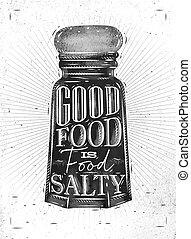 Poster salty food - Poster salt cellar lettering good food ...