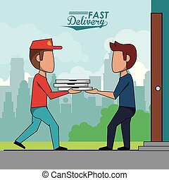 poster scene city landscape of man delivering pizza to customer