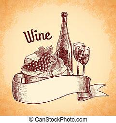 poster, schets, wijntje