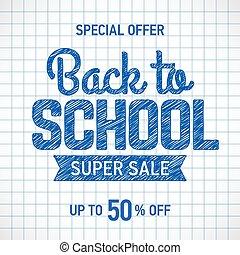poster, school, back, verkoop