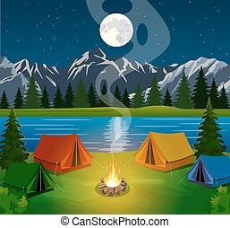 poster showing a campsite with a campfire