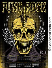 poster skull and calendar for punk rock