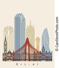poster, skyline, dallas