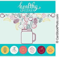Poster smoothie detox spinach with fruit, jar and Lettering text healthy lifestyle.