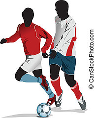 Poster Soccer football player. Colored Vector illustration...