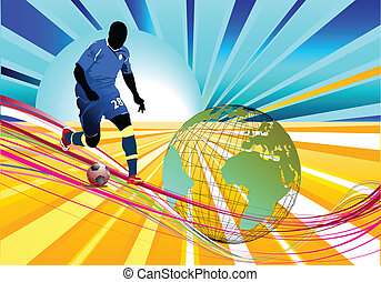 Poster Soccer football player. Colo