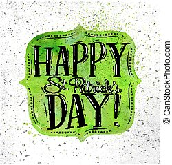 Poster St Patrick frame - Poster St Patrick lettering happy...