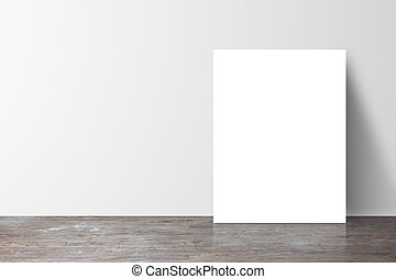 poster standing next to a white wall
