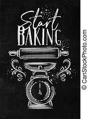 Poster start baking chalk
