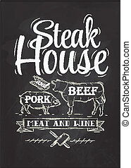 Poster Steak House chalk drawing with a pig and a cow in the...