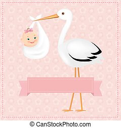 Poster Stork With Baby Girl