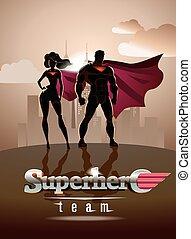 poster., superhero, couple:, maschio femmina, superheroes, proposta, davanti, uno, luce