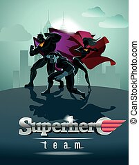 poster., superhero, team;, squadra, di, superheroes, proposta, davanti, uno, light.