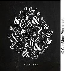 Poster symbol ampersand chalk - Poster hand drawn decoration...