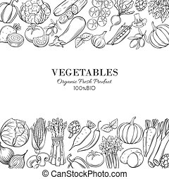 Poster template borders with hand drawn vegetables