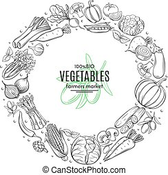 Poster template frame with hand drawn vegetables