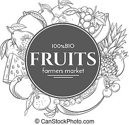 Poster template frame with hand drawn fruits