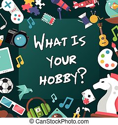 Poster template of modern flat design hobby icons and...