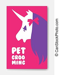 Poster template of pet grooming with unicorn s head on pink back