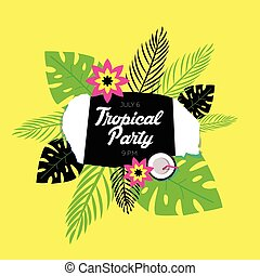 Poster template of tropical party.