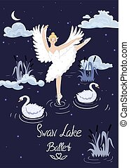 Poster to the ballet Swan Lake. Vector graphics.