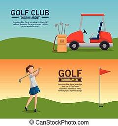 poster, toernooi, ontwerp, golf