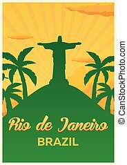 Poster Travel to Brazil, Rio de janeiro skyline. Vector illustration.