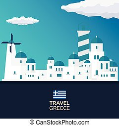 Poster Travel to Greece skyline. Acropolis. Vector illustration.