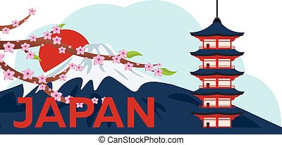 Poster Travel to Japan. Mountain Fuji. Sakura japan cherry branch with blooming flowers vector illustration. Banner. Vector illustration.
