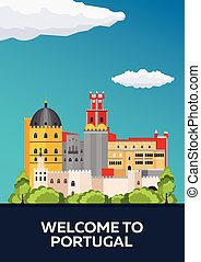 Poster Travel to Portugal skyline. Vector flat illustration...