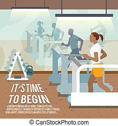 poster, tredmolens, mensen, fitness