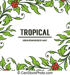 Poster tropical with beauty bright green leafy floral frame. Vector