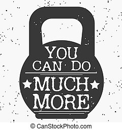 poster., typographique, grunge, fitness