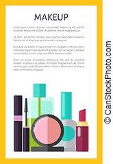 poster, vector, illustratie, makeup, veelkleurig