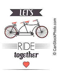 poster, vector, retro, fiets