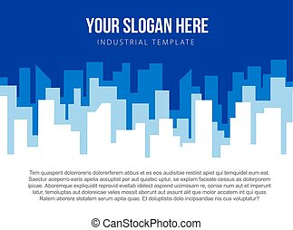 Poster vector template with blue city skyline