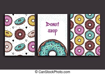 Poster vector template with donuts. Advertising for bakery shop or cafe. Sweet background.
