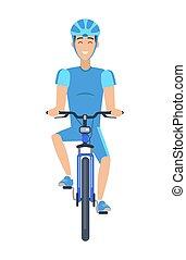 poster, veelkleurig, vrolijk, fiets helpend, man